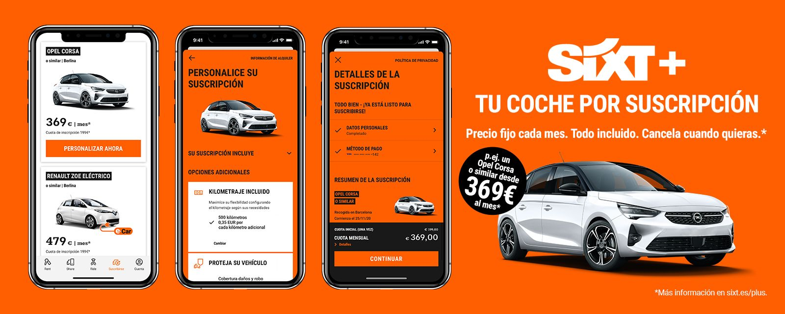 Sixt rent a car se reinventa y lanza los coches por suscripción desde 369 €, todo incluido