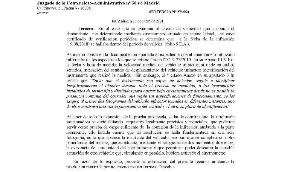 Copia de la sentencia en la que se dictamina la resolución contra el Ayuntamiento de Madrid.