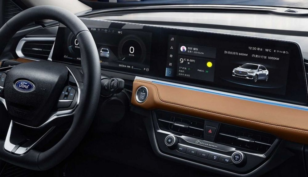 The interior of the 2021 Ford Escort from China bears similarities to Mercedes.