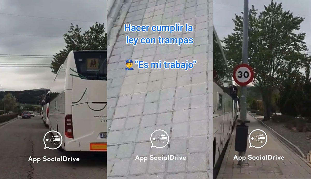 Discute con dos policías por un radar puesto entre dos autobuses que tapan una señal de 30