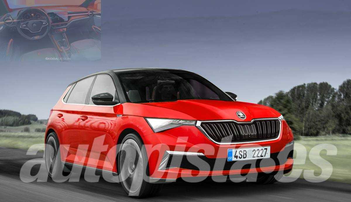 Recreation of the new Skoda Fabia 2021 according to Schulte and first photo of the interior