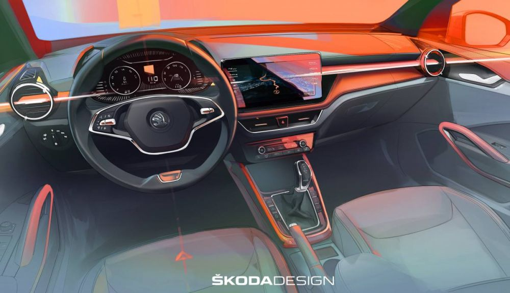 First sketch of the interior of the new Skoda Fabia 2021