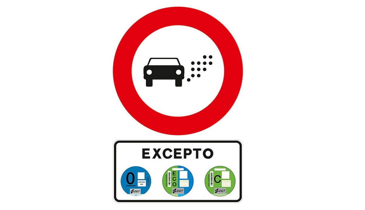 Which cars will not be able to circulate if you see this DGT sign: mandatory with more than 50,000 inhabitants.
