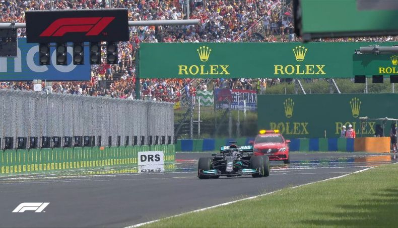 1 Lewis Hamilton alone on the starting grid at the restart