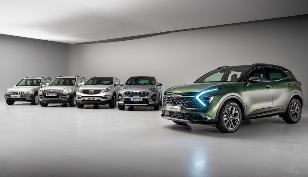 Family photo with the five generations of the Kia Sportage