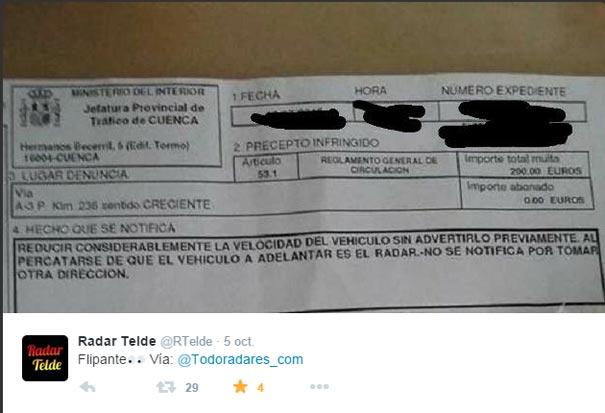 Tweet denunciando la multa por frenar brúscamente