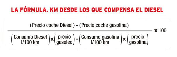 Formula cuándo es rentable el motor Diesel