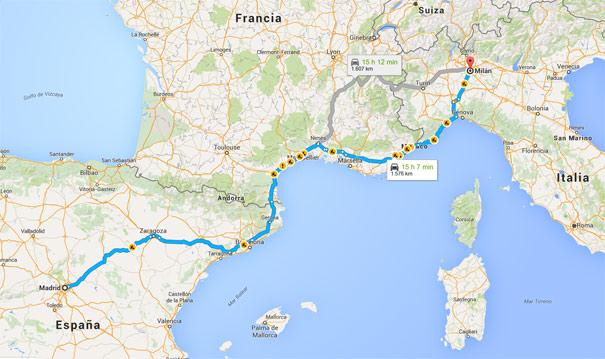 Ruta Madrid-Milán en coche