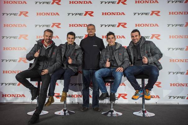 Márquez, Pedrosa, Bou y Monteiro, al volante del nuevo Honda Civic Type R