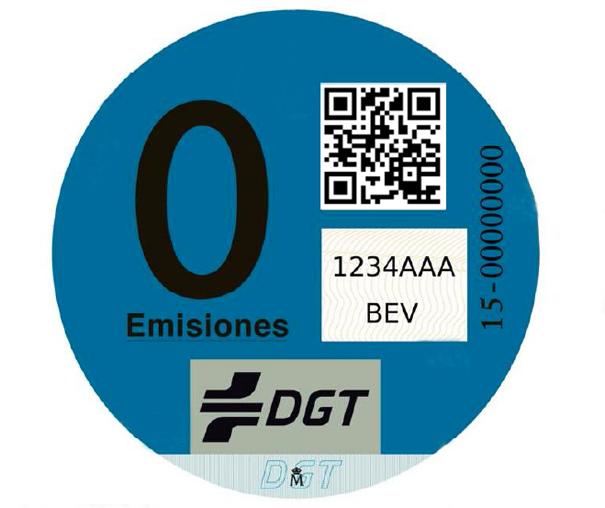 Distintivo DGT vehículo cero emisiones