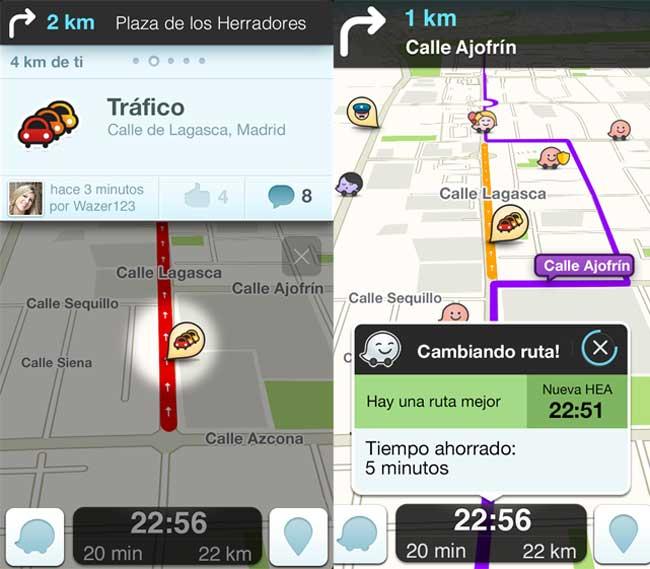 Recálculo de ruta por atasco en Waze