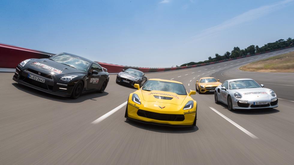 Chevrolet Corvette Z06 contra Jaguar F-Type R AWD, Mercedes AMG GTS, Nissan GT-R y Porsche 911 Turbo