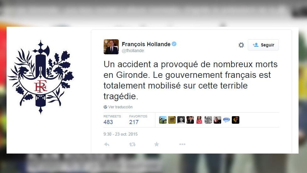 42 fallecidos en un accidente de tráfico entre un bus y un camión en Francia