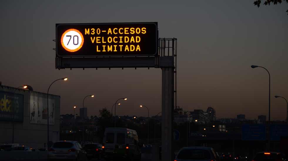A 70 km/h en la M-30 de Madrid para reducir la contaminación