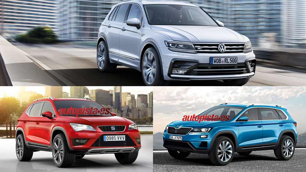 seat ateca skoda vision s y vw tiguan los tres suv del grupo vw novedades. Black Bedroom Furniture Sets. Home Design Ideas