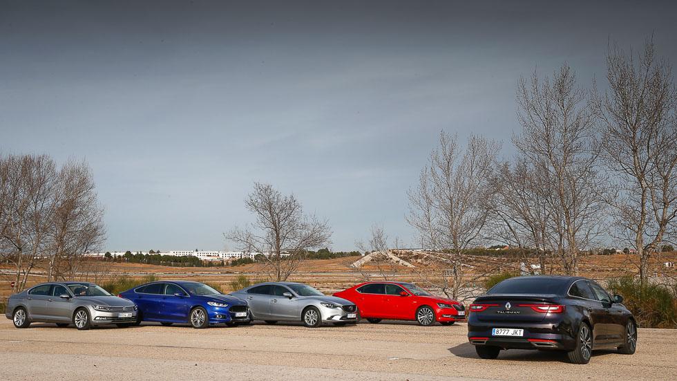 Renault Talisman frente a Ford Mondeo, Mazda6, Skoda Superb y VW Passat