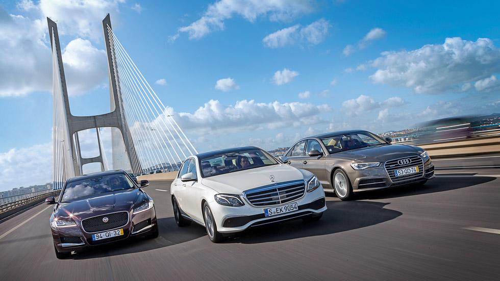 Mercedes E 220d, Audi A6 2.0 TDi y Jaguar XF 2.0d, frente a frente