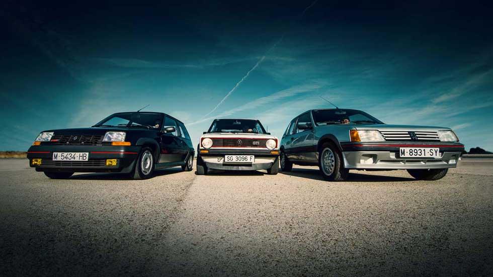 Coches para el recuerdo: VW Golf GTI Mk1, Peugeot 205 GTI y Renault Supercinco GT Turbo