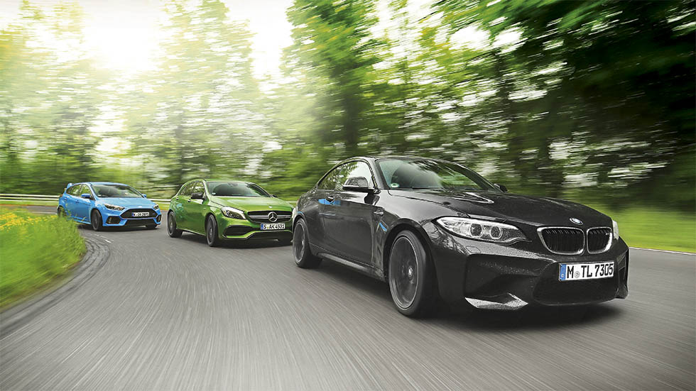 BMW M2, Ford Focus RS y Mercedes AMG A 45, ¿cuál gana?