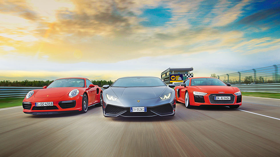Porsche 911 Turbo S, Lamborghini Huracan y Audi R8 V10 Plus: 1.800 CV, a prueba