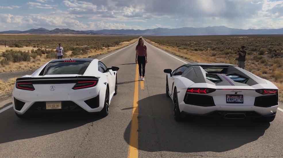 Carrera de aceleración: ¿es más rápido un Honda NSX o un Lamborghini Aventador? (Vídeo)