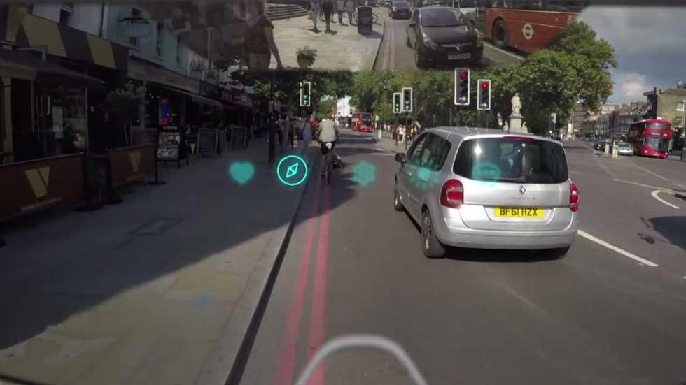 El casco protector para ciclistas con realidad aumentada (vídeo)