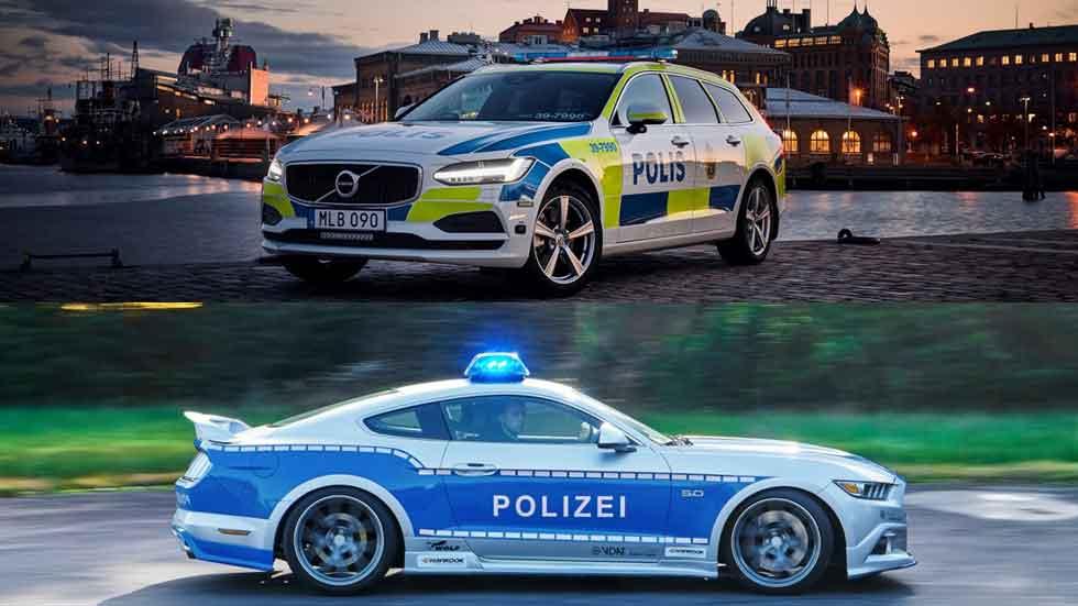Nuevos coches de la Policía europea: Volvo V90 y Ford Mustang