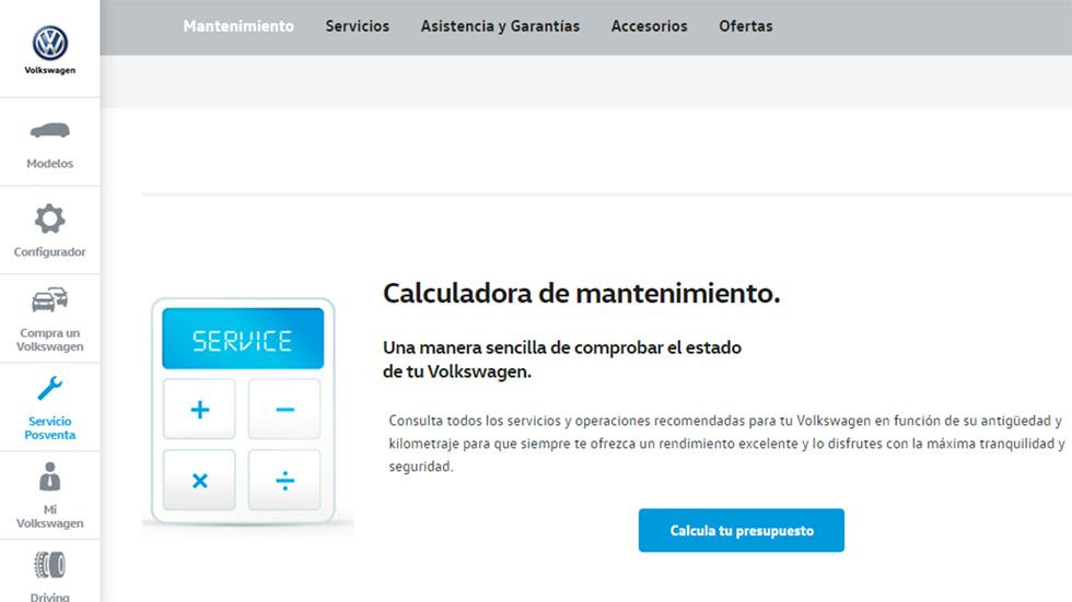 VW ofrece una calculadora de mantenimiento del coche a sus clientes