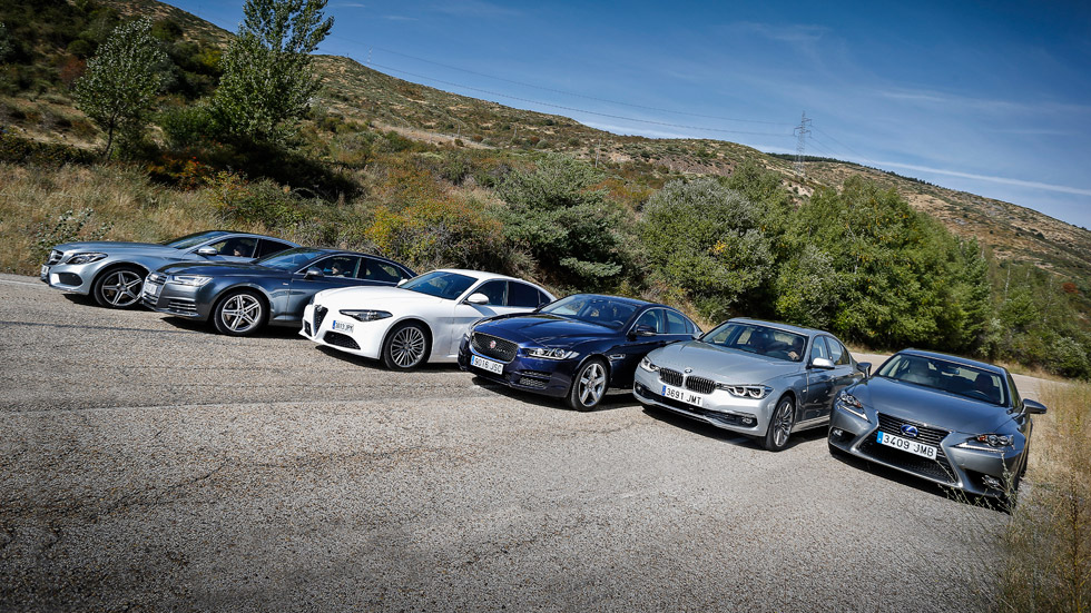 Alfa Giulia contra Audi A4, BMW Serie 3, Jaguar XE, Lexus IS y Mercedes Clase C
