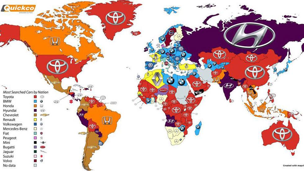 El mapamundi de las marcas de coches más buscadas en Google, por países