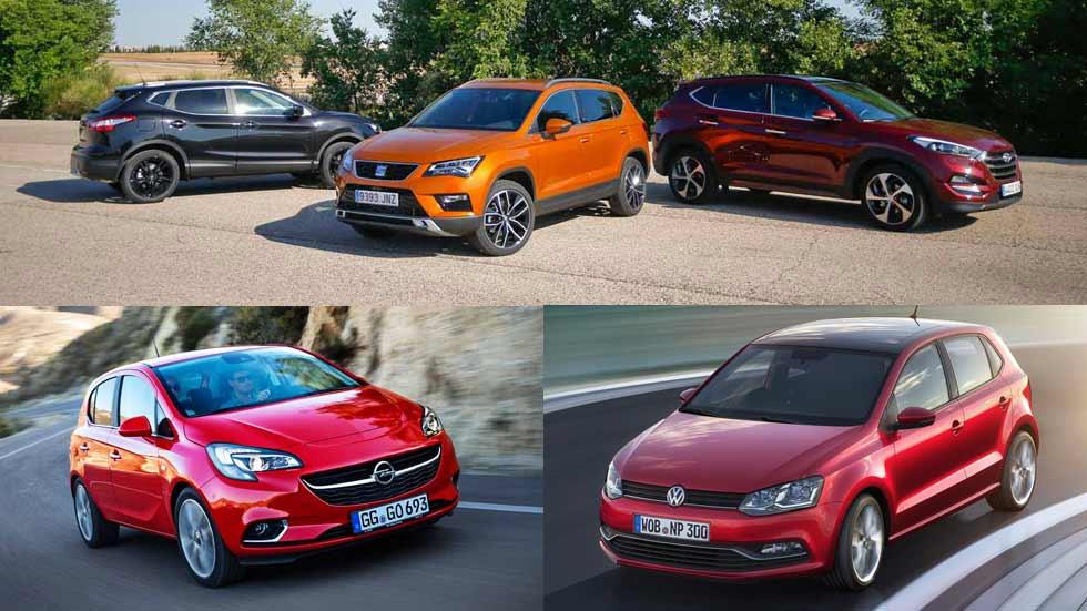 Los 10 coches y los 10 SUV más vendidos en marzo