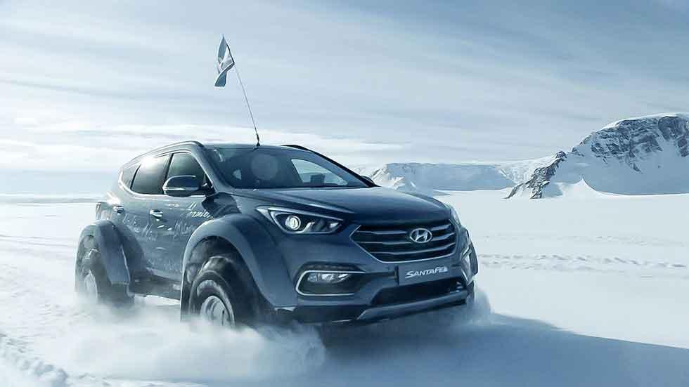 Un Hyundai Santa Fe, el primer coche en cruzar la Antártida (fotos)