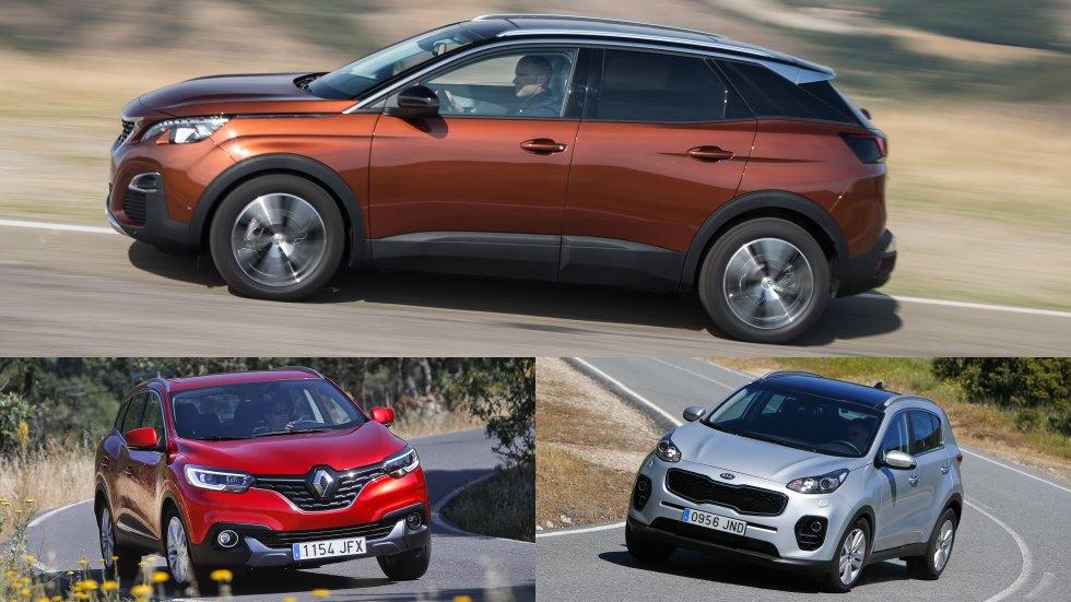 Kia Sportage, Peugeot 3008 y Renault Kadjar, ¿qué SUV es mejor?