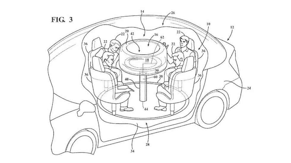 Ford patenta una mesa retráctil con airbags para el coche autónomo