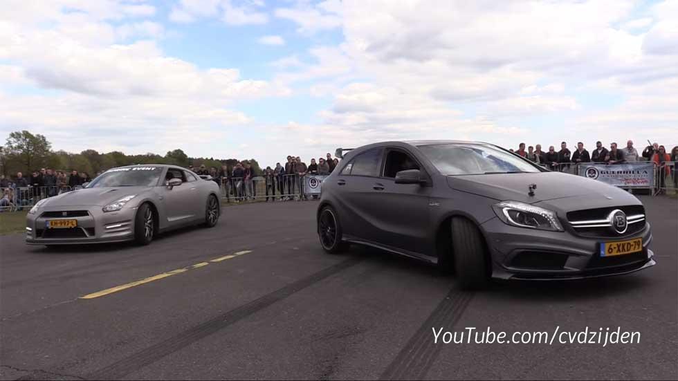 Carrera de aceleración: Mercedes-AMG A45 vs Nissan GT-R y Audi R8 (Vídeo)