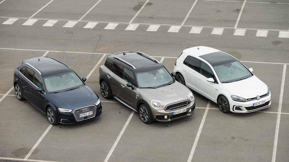 Audi A3 e-tron, Mini Countryman S E y VW Golf GTE: en busca del mejor híbrido enchufable