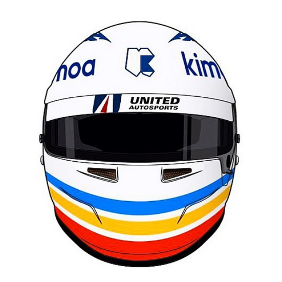 Alonso muestra su casco para Daytona