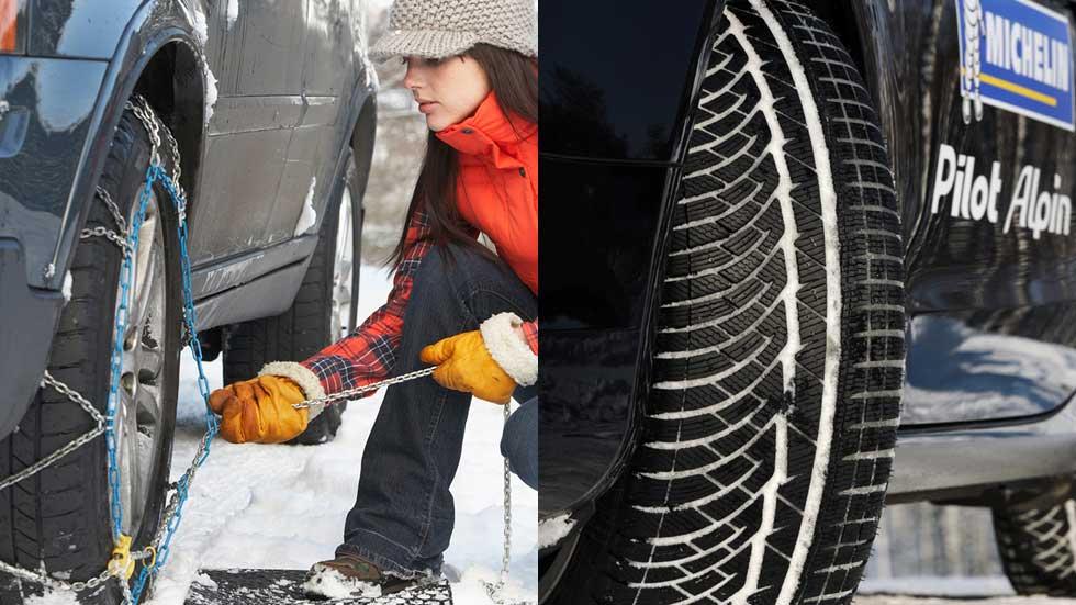 ¿Es mejor circular con neumático de invierno o con cadenas?
