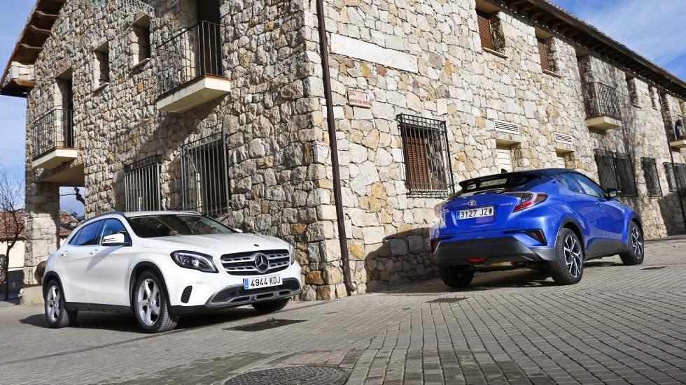 Mercedes GLA 180 vs Toyota C-HR: ¿SUV gasolina o híbrido? ¿Premium o generalista?