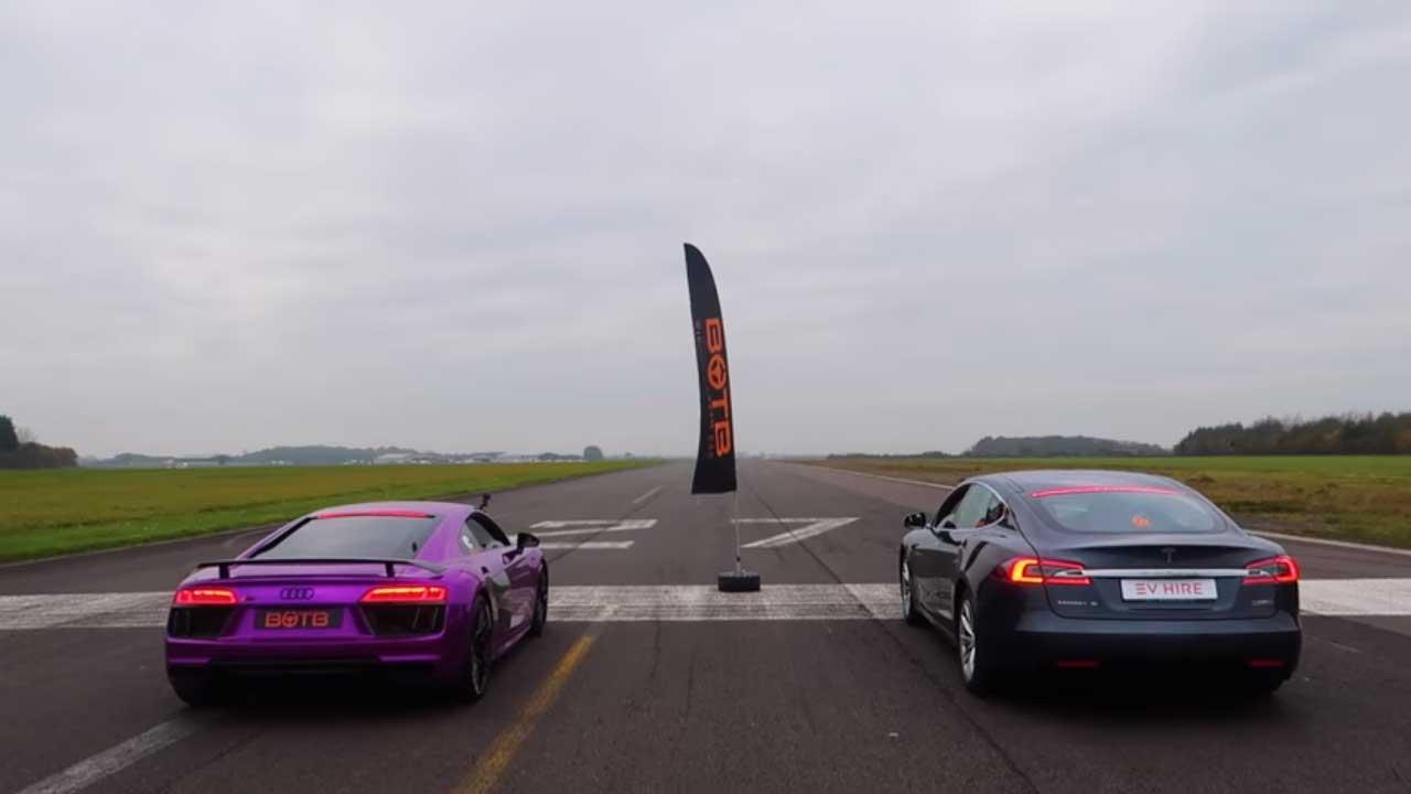 Carrera de aceleración: Tesla Model S vs Audi R8 V10, ¿cuál es más rápido?