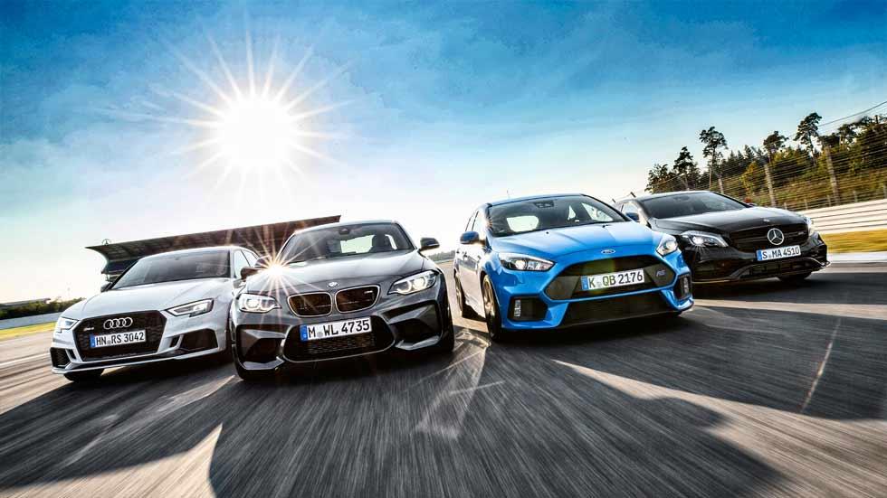 Audi RS 3, BMW M2, Ford Focus RS y Mercedes-AMG A 45: ¿cuál es mejor?