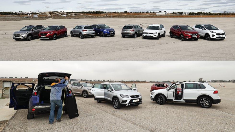¿El SUV con más espacio?: Qashqai, Ateca, 3008, Tiguan, Sportage, Karoq, Tucson y Grandland X