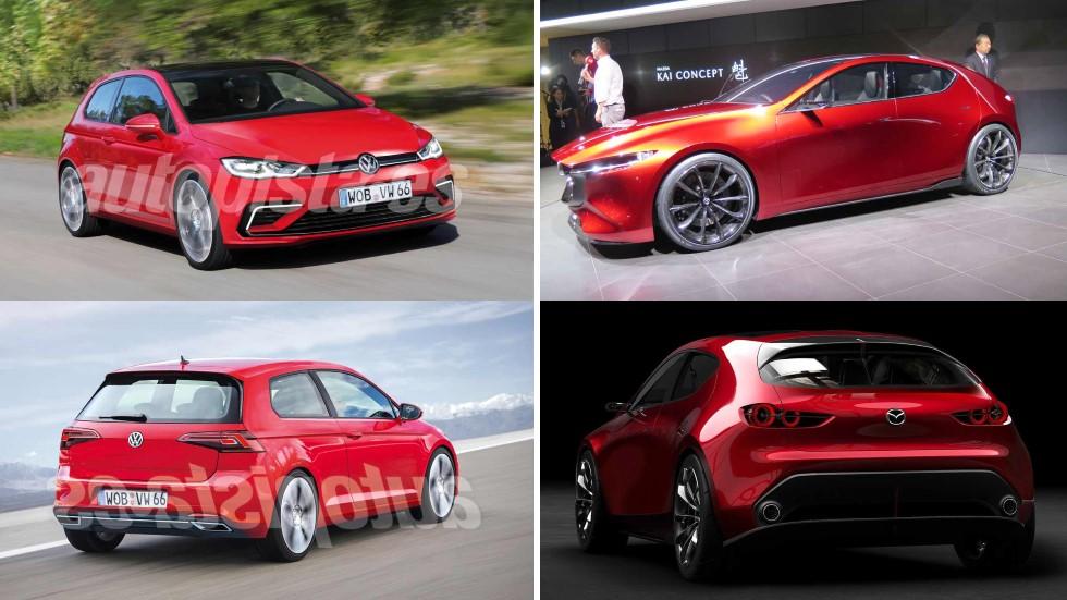 Nuevos VW Golf vs Mazda3: el gran duelo de compactos en 2019