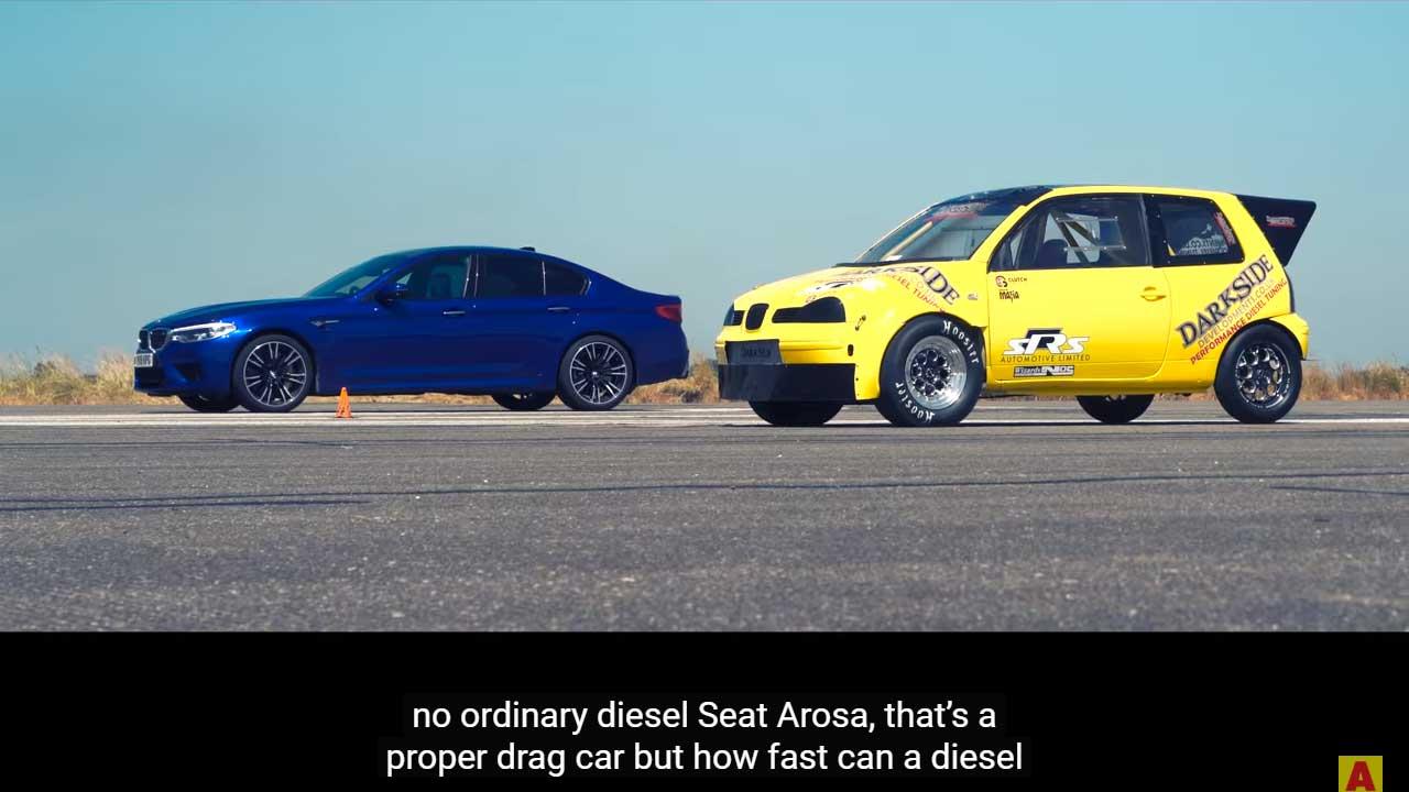 Duelo de aceleración entre un BMW M5 y un Seat Arosa: Vídeo