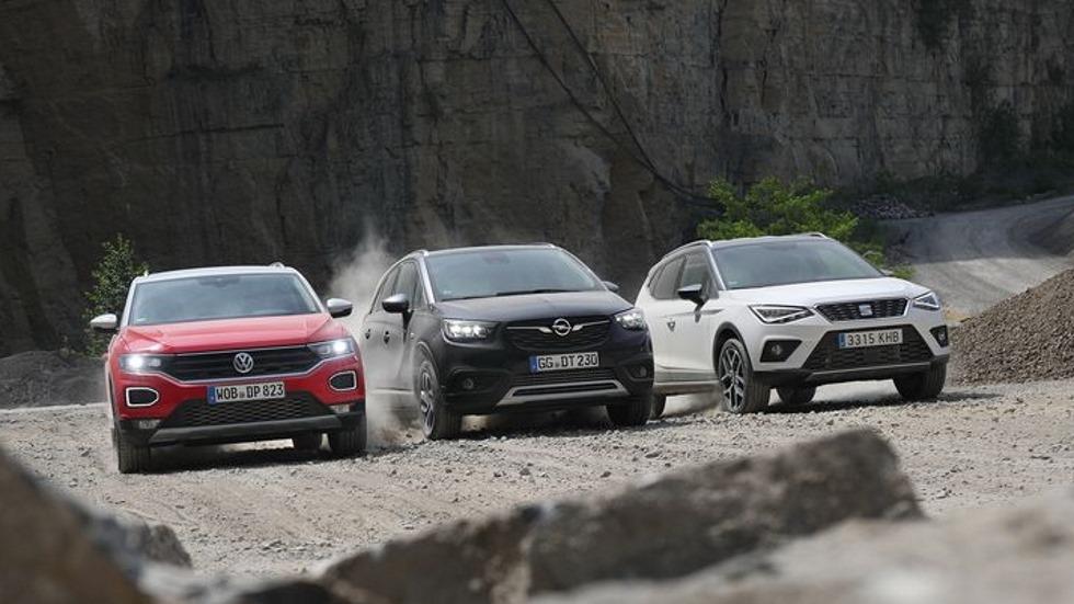 Comparativa SUV: Opel Crossland X 1.2 Turbo, Seat Arona 1.0 TSI y VW T-Roc 1.0 TSI