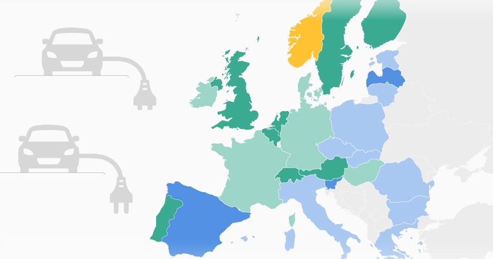 Descubre el mapa de los coches eléctricos en España y en Europa