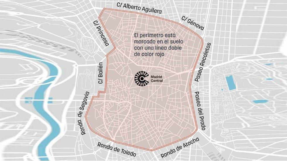 Restricciones Tráfico Madrid Mapa.El Mapa De Madrid Central Su Perimetro Y Las Calles