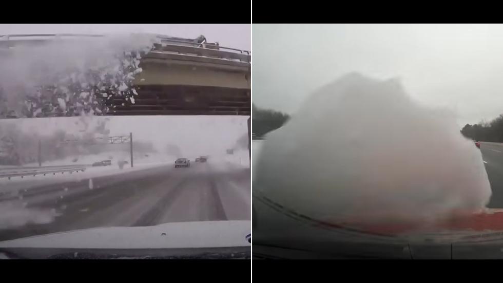 El exceso de nieve puede llegar a romper el parabrisas de tu coche (Vídeos)