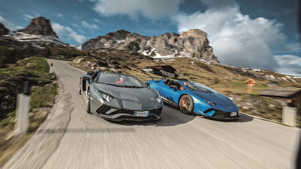 Lamborghini Aventador S Roadster y Huracán Performante Spyder: prueba en Los Dolomitas