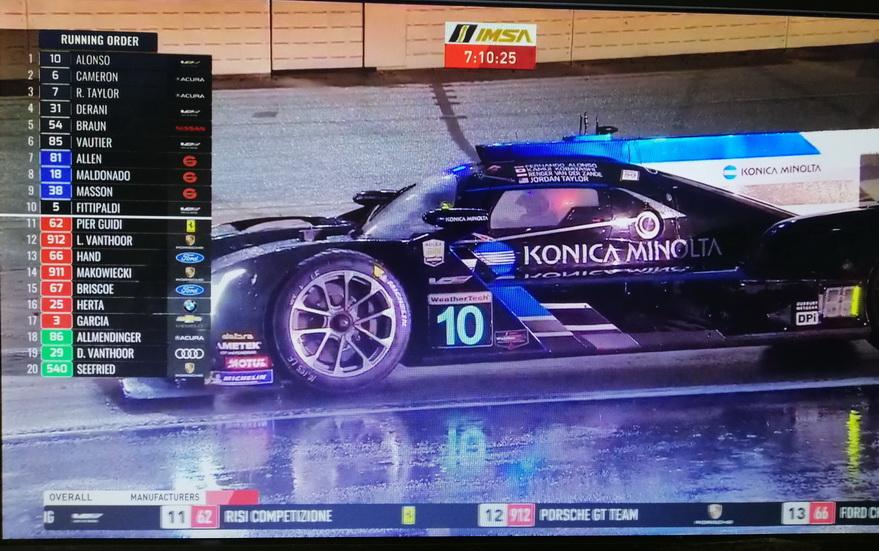 24 Horas de Daytona: Bandera roja por la lluvia a falta de 7 horas con Alonso líder tras otro magistral relevo